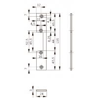 FKH24 Планка плоская для дерев. дверей, отв. под язык