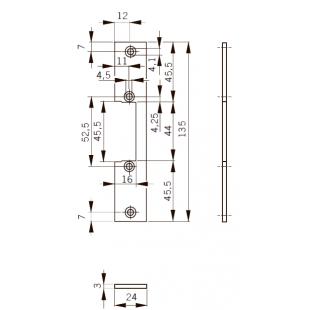 FKH24 Планка плоская, нерж. сталь, для дерев. дверей, отв. под язык, для серий Smoke, Basic-S , Basic, Fire 447. 24 x 135 x 3 мм