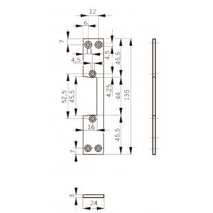 FKM24 Планка плоская, нерж. сталь, для метал. дверей, отв. под  язык, для серий Smoke, Basic-S , Basic, Fire 447. 24 x 135 x 3 мм