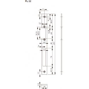 FL22 Планка плоская, нерж. сталь, отв. под язык и ригель-задвиж., для серии Basic-S .