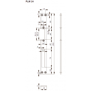 FLM24 Планка плоская, нерж. сталь, для метал. дверей, отв. под язык, для серий Smoke, Basic-S , Basic, Fire 447.