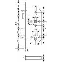 Замок врезной Hafele PZ, под профильный цилиндр, латунь полированная, 55/20