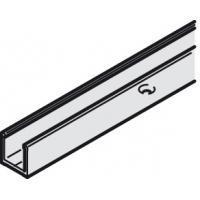 Крепёжный профиль для монтажа к стене и к полу, для стекла 8-10 мм, длина 3000 мм, цвет нержавеющей стали