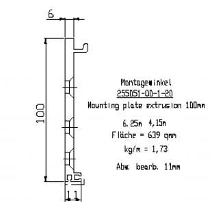 Монтажная пластина 25505101120 DORMA L=6250мм