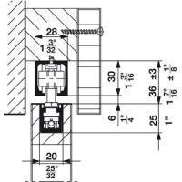 Механизм раздвижной двери из древесины HAWA Junior 40/В. Вес двери до 40 кг.