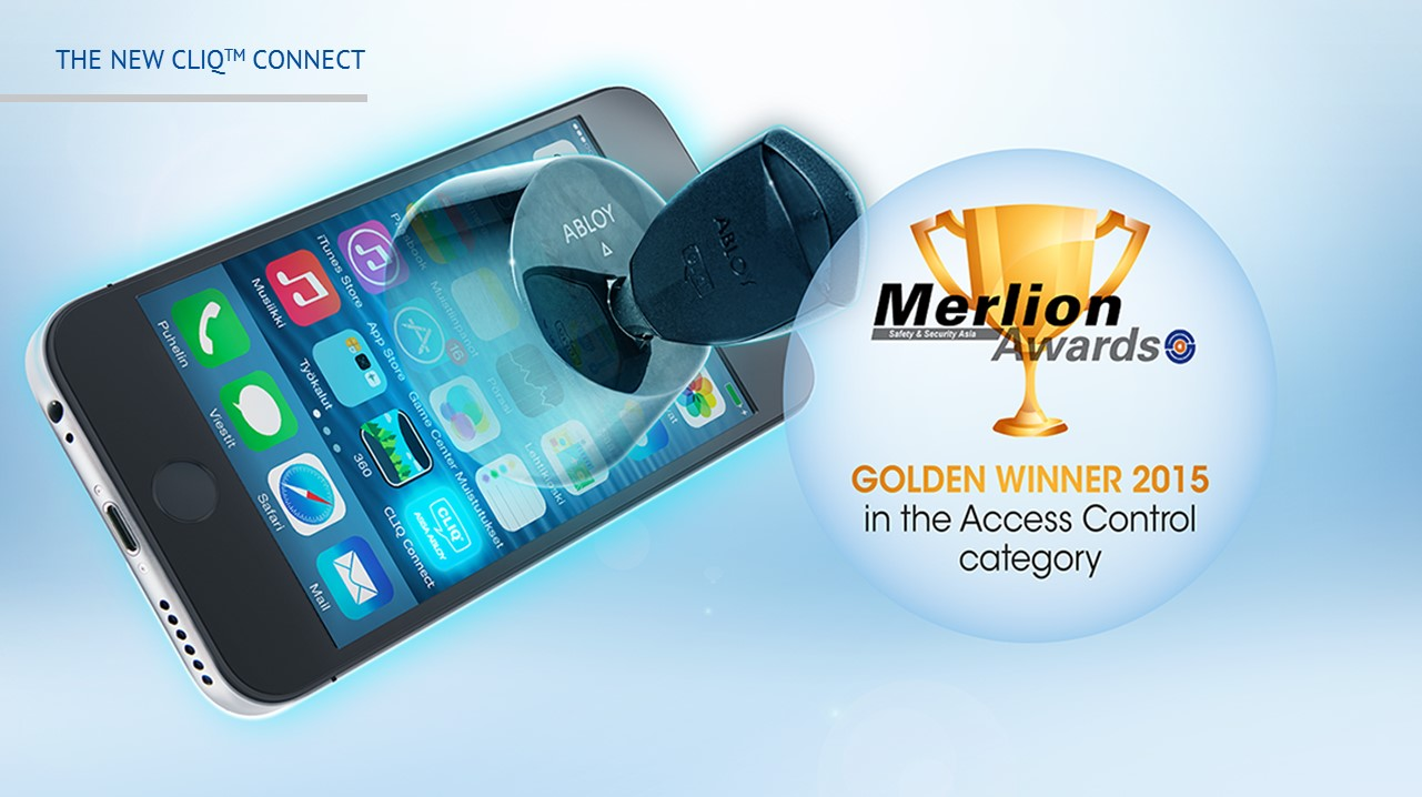СИСТЕМА ABLOY ONLINE CLIQ CONNECT уже получила признание как выдающееся технологическое достижение в области безопасности и недавно была названа Золотым Победителем (Golden Winner) в категории Контроль Доступа (Access Control) в 2015 году на премии Merlion Awards, проходившей в рамках шоу Security & Safety Asia (Охрана и безопасность Азии) в Сингапуре.