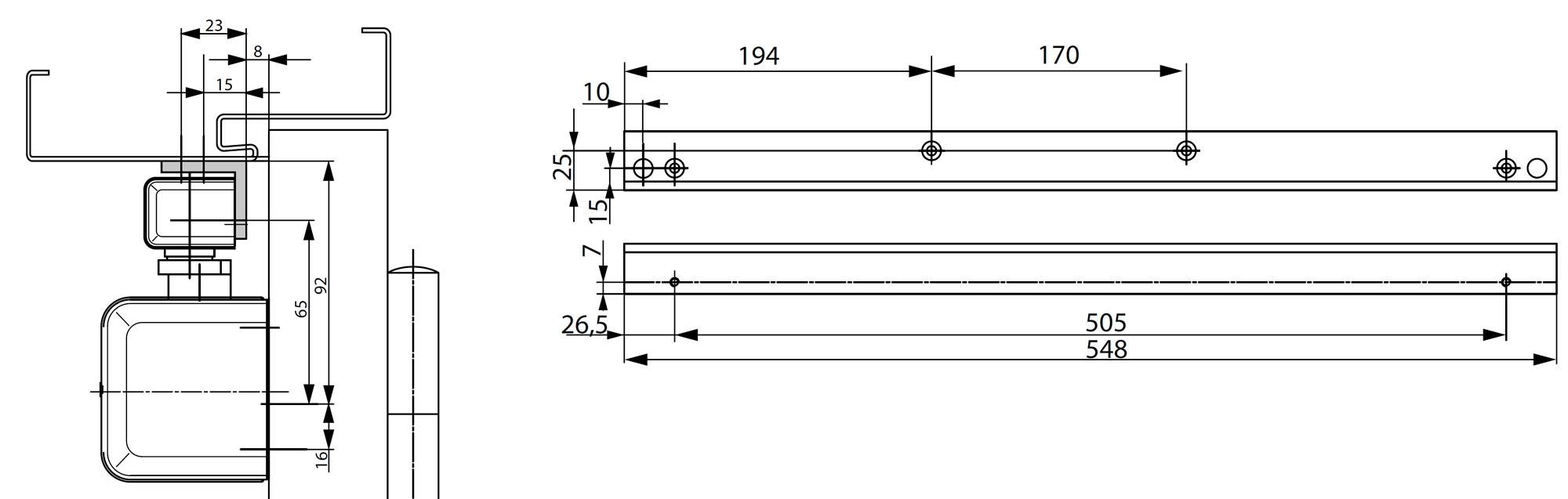 Угловая монтажная пластина A116 для скользящей тяги G460 при установке со стороны обратной петлям