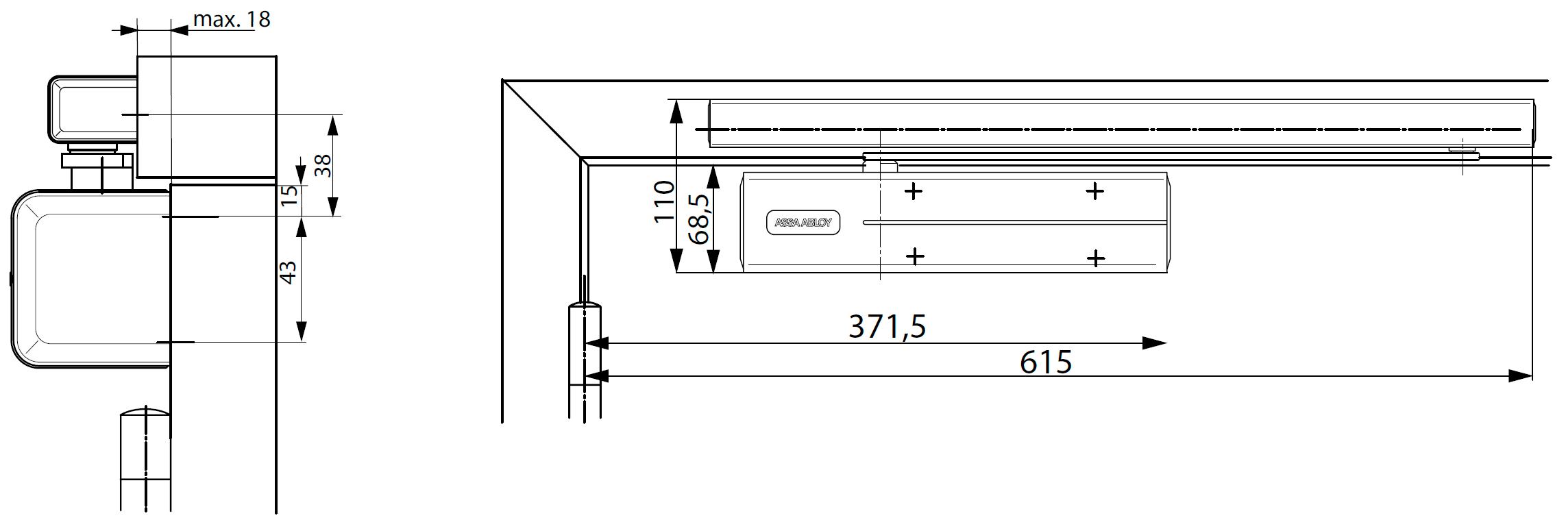 Стандартная установка для DC700 с G460 со стороны петель