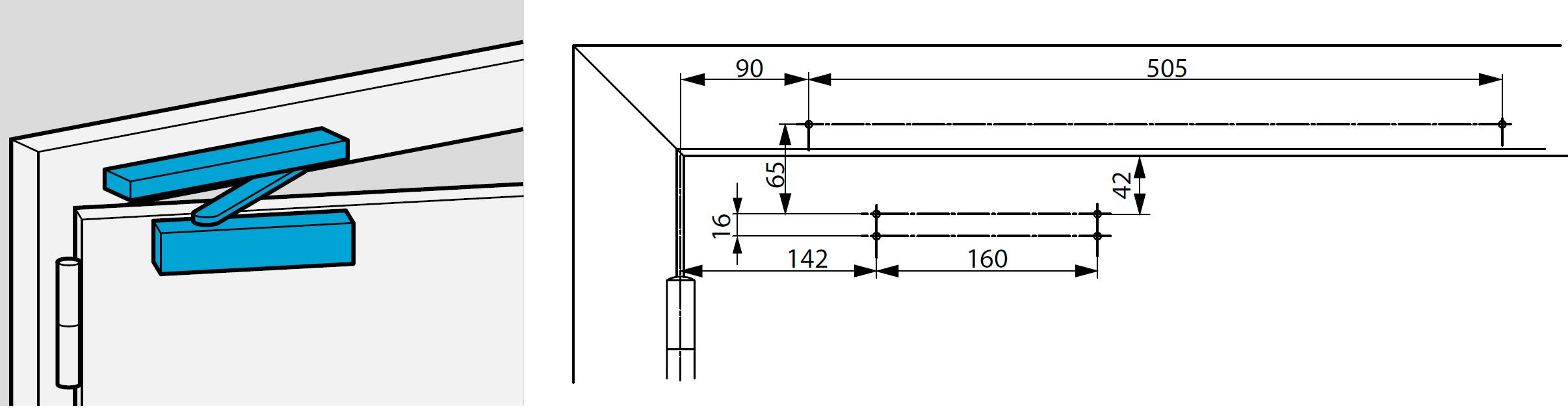 Монтажные размеры для стандартной установки с монтажной пластиной со стороны петель  Для дверей, соответствующих стандарту Е1154, Дополнение 1, или для тех дверей, где прямой монтаж невозможен.