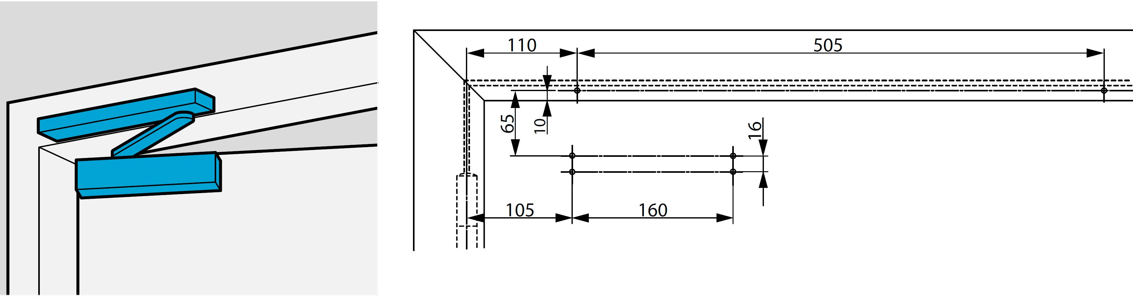 Монтажные размеры для стандартной установки с монтажной пластиной со стороны обратной петлям Для дверей, которые не позволяют выполнить прямой монтаж  На рисунке показана установка на правостороннюю дверь