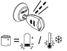 Заряд батарейки низкий или ключ замерз (попробуйте согреть ключ в своей руке)