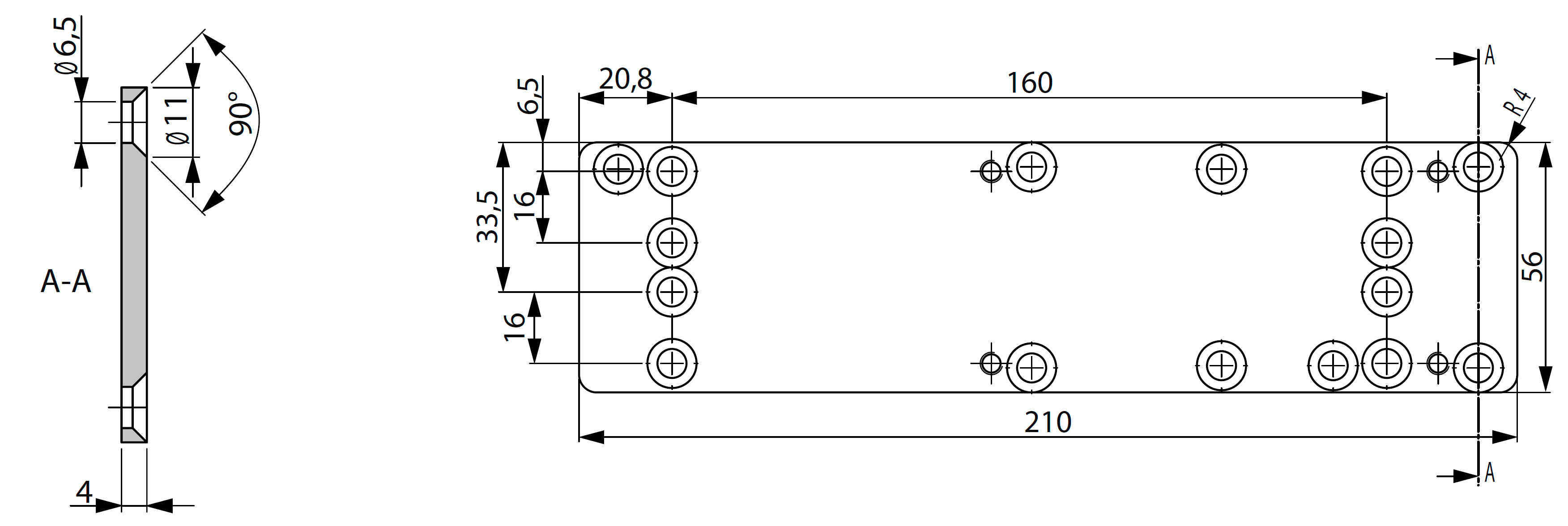 Монтажная пластина A124 Для монтажа доводчика на место ранее уставленного, в том числе не ASSA ABLOY