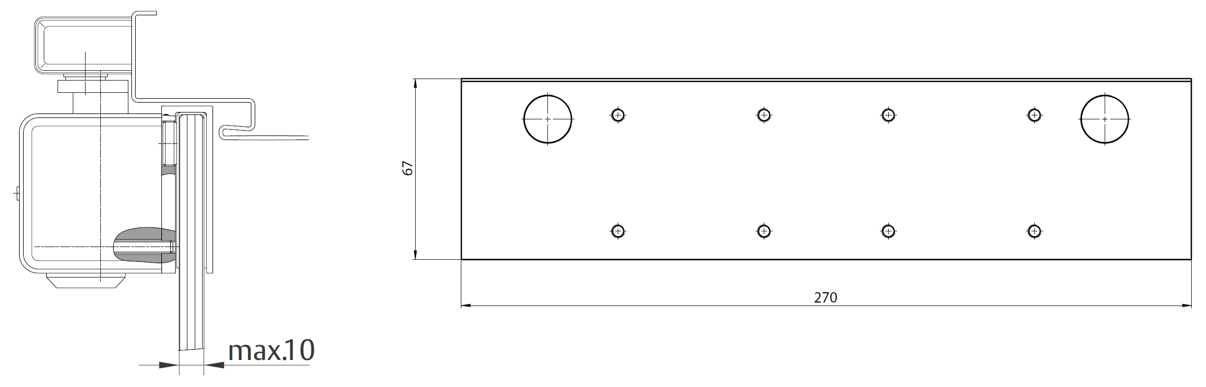 Пластина для цельностеклянных дверей A166 Для монтажа дверного доводчика на цельностеклянную дверную створку