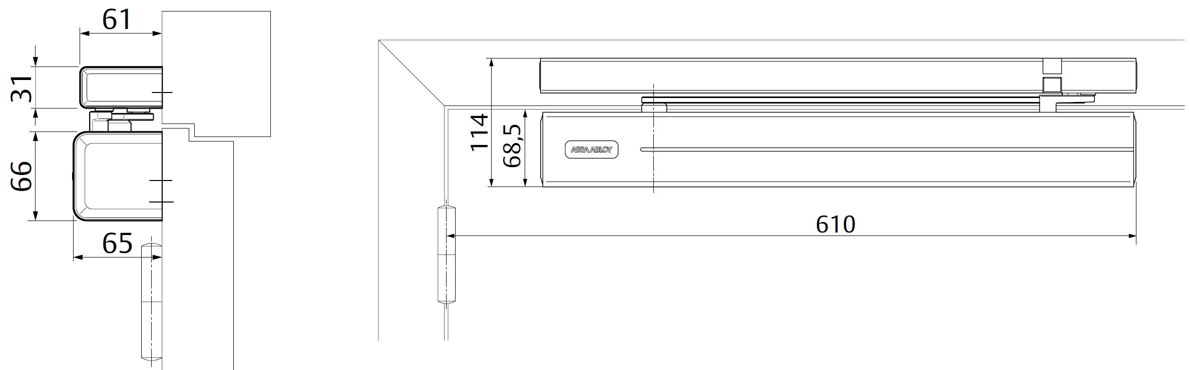 Место для стандартной установки доводчика DC700G-CM со стороны петель