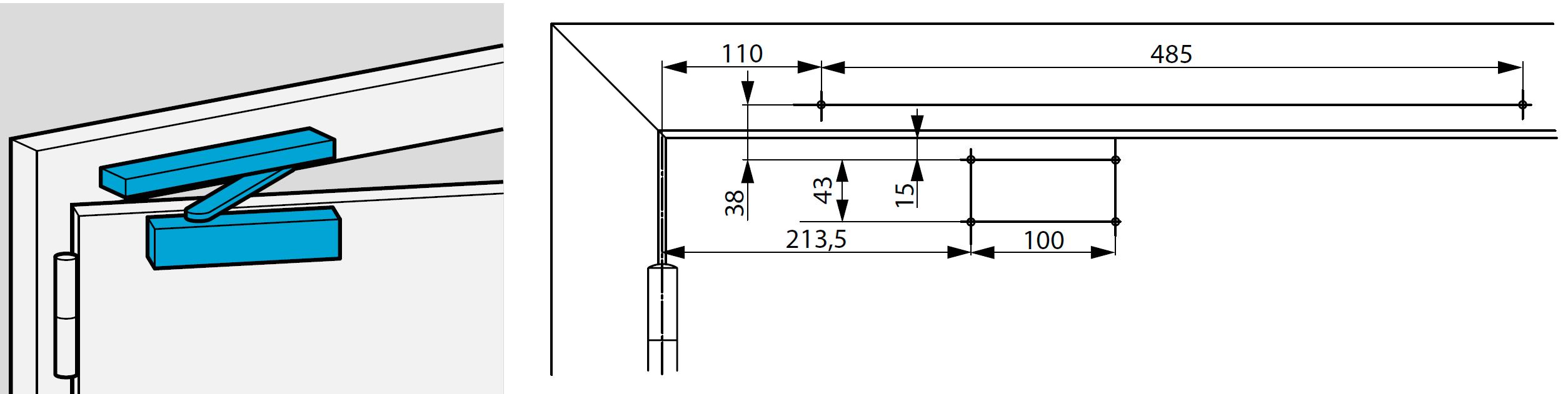 Монтажные размеры для стандартной прямой установки доводчика DC700 со стороны петель