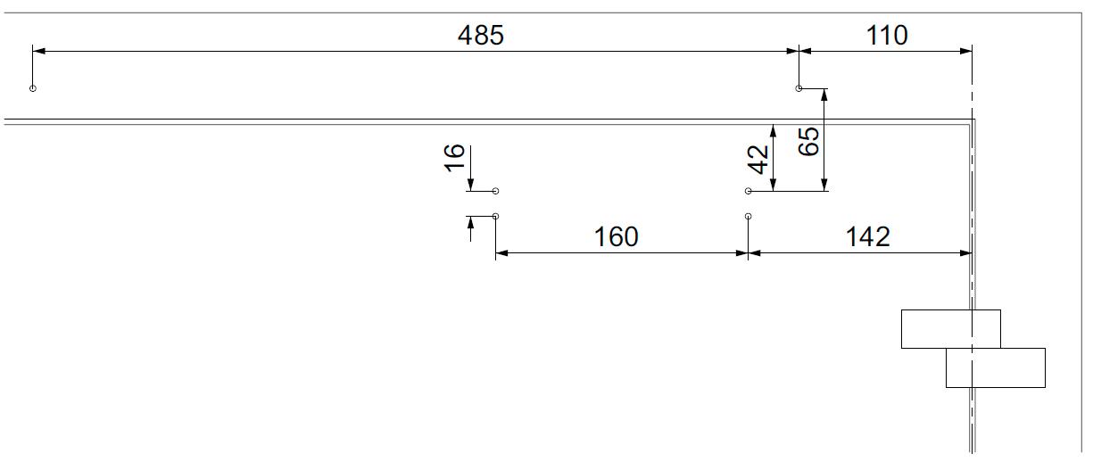 Монтажные размеры для стандартной прямой установки доводчика DC700G-CM со стороны обратной петлям