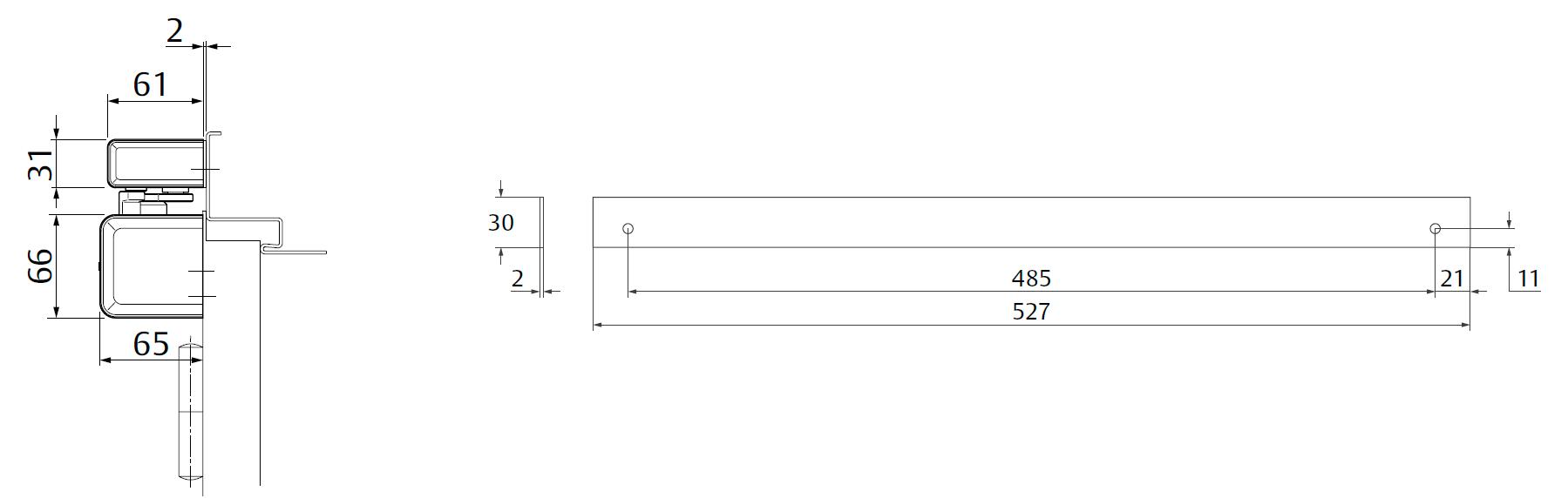 Крепежная пластина A230 / 2 мм Для монтажа скользящей тяги к дверям с притвором. Комбинация с A240, A250, A260