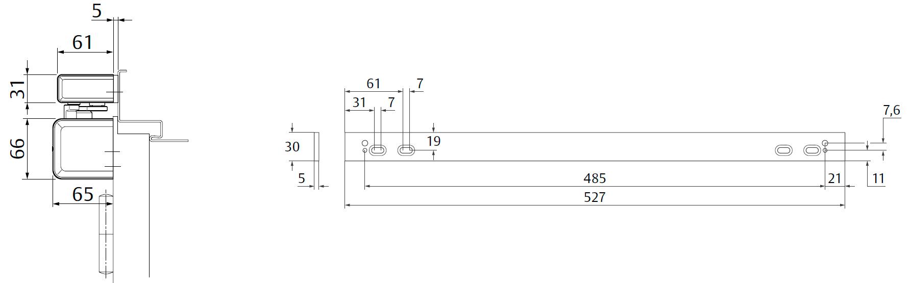 Крепежная пластина A250 / 5 мм Для монтажа скользящей тяги к дверям с притвором. Комбинация с A230, A240, A260