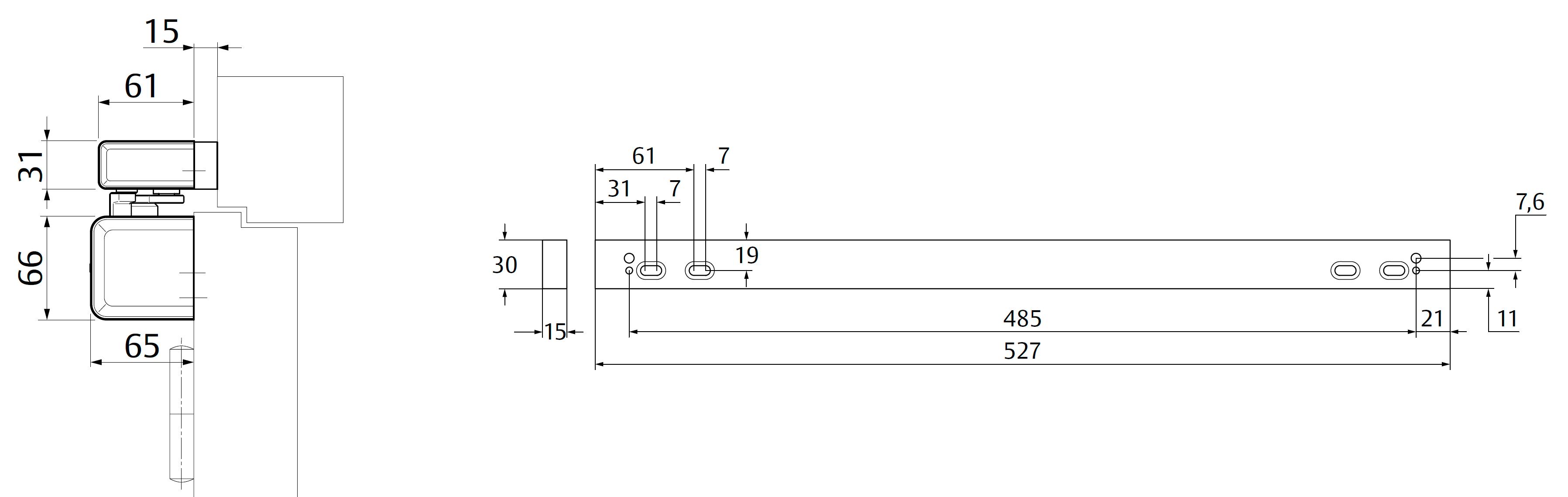 Крепежная пластина A260 / 15 мм Для монтажа скользящей тяги к дверям с притвором. Комбинация с A230, A240, A250