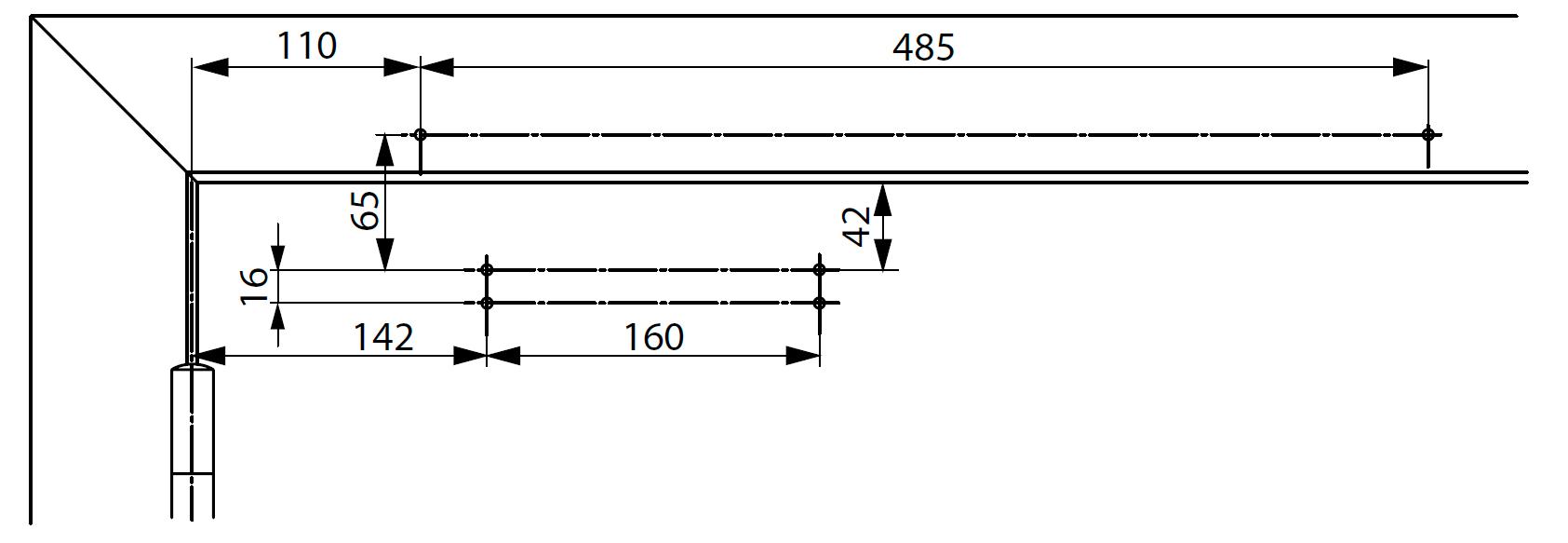 Монтажные размеры для стандартной установки доводчика DC700 с монтажной пластиной со стороны петель Для дверей, соответствующих стандарту Е1154, Дополнение 1, или для тех дверей, где прямой монтаж невозможен.