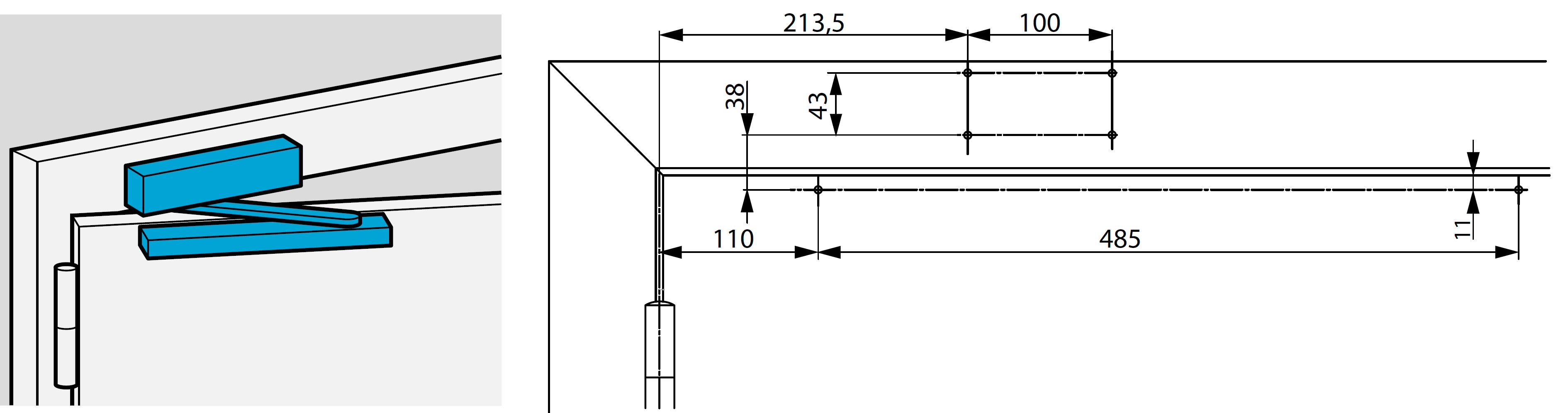 Монтажные размеры для стандартной установки доводчика DC700 на коробку со стороны петель Доводчик на коробке со стороны петель.