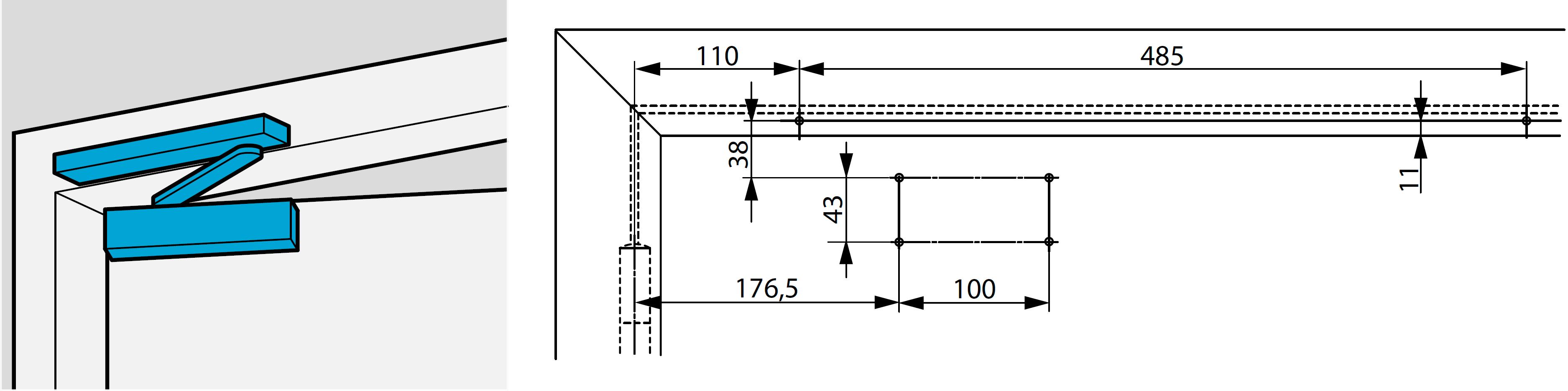 Монтажные размеры для стандартной прямой установки доводчика DC700 со стороны обратной петлям