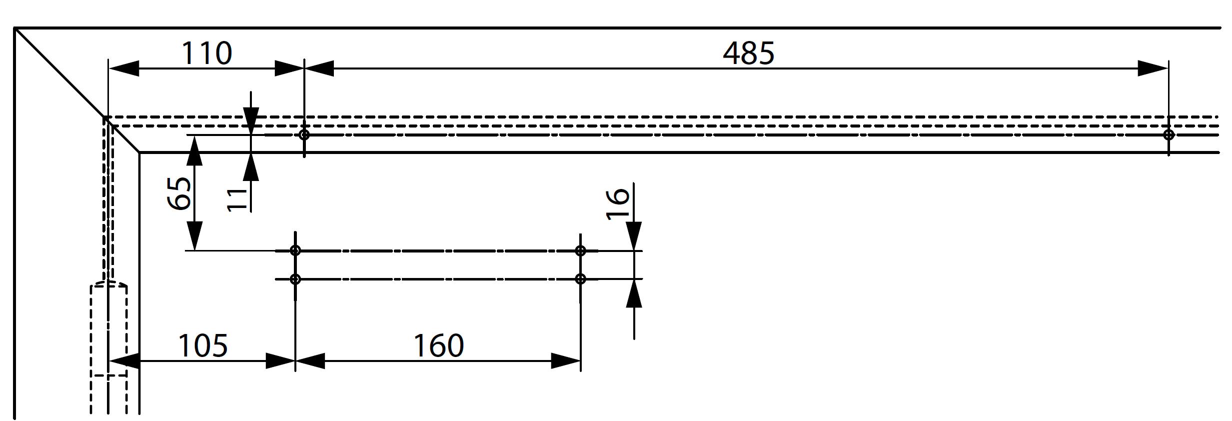 Монтажные размеры для стандартной установки доводчика DC700 с монтажной пластиной со стороны обратной петлям