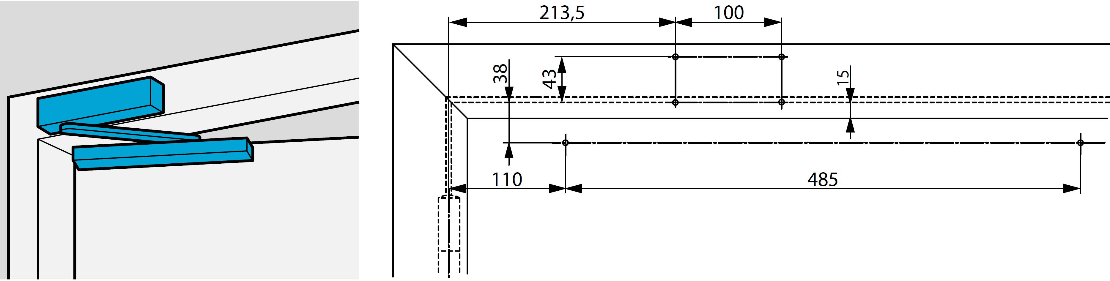 Монтажные размеры при прямом монтаже доводчика DC700 на коробку со стороны обратной петлям Доводчик на коробке со стороны обратной петлям