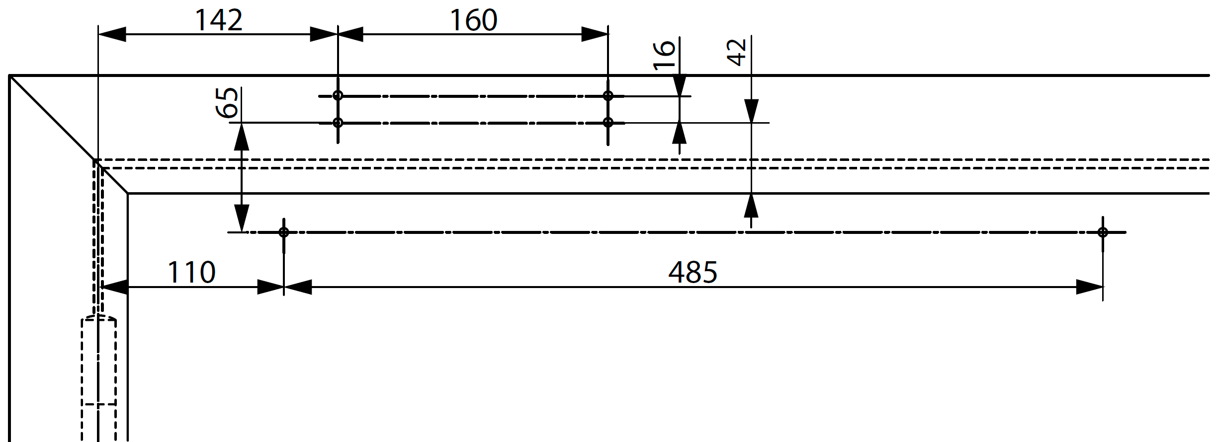 Монтажные размеры с монтажной пластиной для установки доводчика DC700 на коробку со стороны обратной петлям Доводчик на коробке со стороны обратной петлям Для дверей, где прямой монтаж невозможен