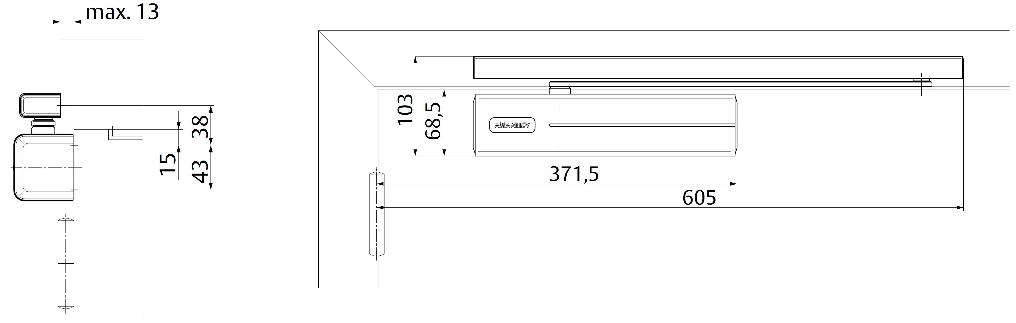 Место необходимое для стандартной установки доводчика DC700 со стороны петель, доводчик на дверное полотно