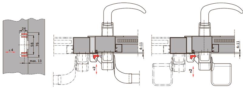 Пример применения PHX 21 на дверях с притвором, для одностворчатых и двухстворчатых дверей