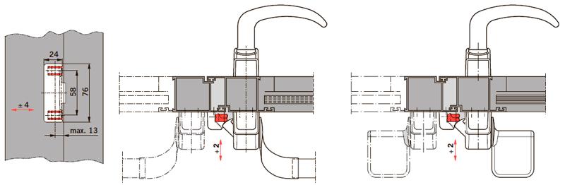 Пример применения PHX 21 на дверях без притвора, для одностворчатых и двухстворчатых дверей
