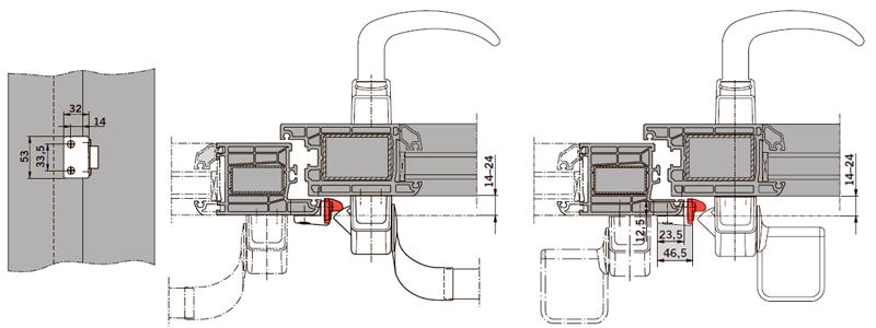Пример применения PHX 22 на дверях с притвором, для одностворчатых и двухстворчатых дверей