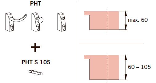 Удлиненные штоки для дверей толщиной 60-105 мм