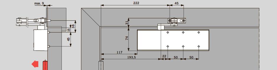 Монтаж на дверном полотне со стороны петель