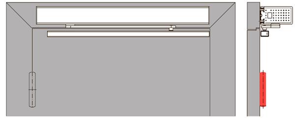 Для приводов установленных со стороны петель (тянущая версия) выбырайте скользящий канал.