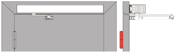 Для приводов установленных со стороны противоположной петлям (толкающая версия) выбырайте стандартный рычаг.