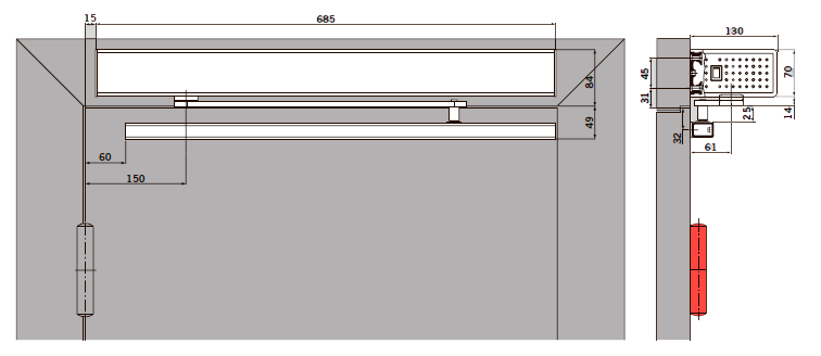 Вид: базовая крышка, тянущая версия (сторона петель), тяга с 25 мм осью башмака.