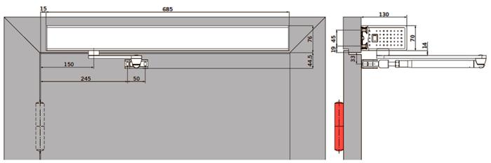 Вид: базовая крышка, толкающая (противоположная петлям сторона) версия