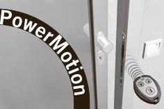 PowerMotion Встроенная в дверную раму электромеханическая защелка (эл. замок или эл. магнит) может быть объединена в единую систему с кнопкой активации открытия, для активации открытия также может использоваться пульт дистанционного управления (опция), считыватель карт, бесконтактная кнопка (стерильные помещения) или радар. Дверь автоматически открывается, а затем закрывается через индивидуально программируемый интервал ее удерживания в открытом положении.