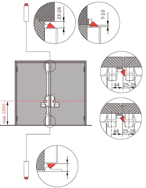 Применение и особенности монтажа EXIT PAD на двупольную дверь три точки запирания