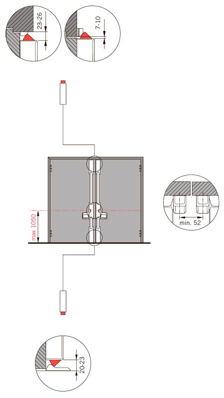 Применение и особенности монтажа EXIT PAD на двупольную дверь 4 точки запирания