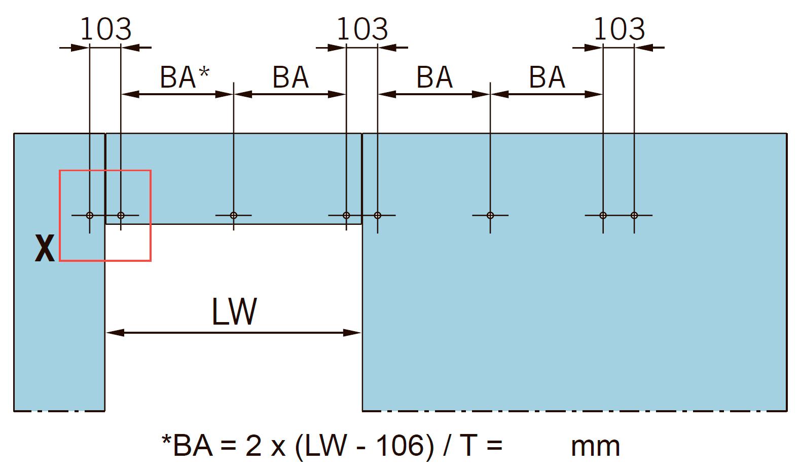 Общее количество отверстий (AB) зависит от ширины проема в чистоте (LW) и определяет конечное расстояние между отверстиями (BA).