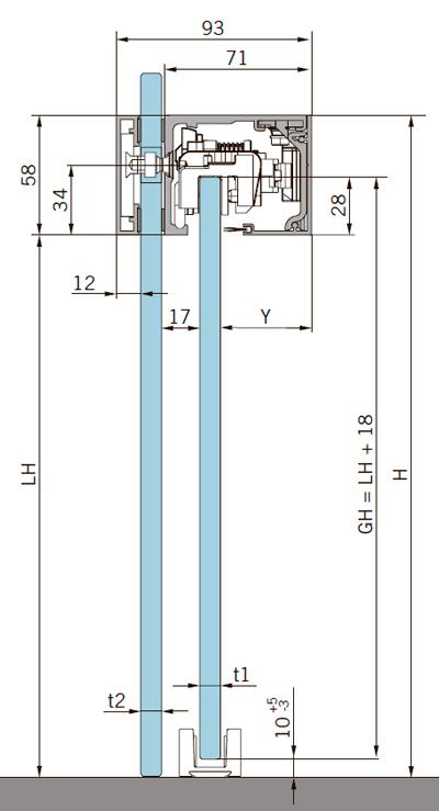 Расчет высоты стекла для MUTO Comfort L DORMOTION 80 крепление на стекло