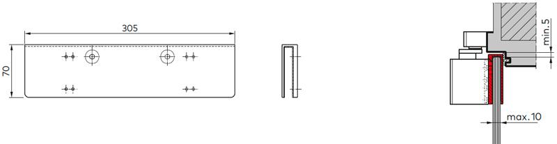 Переходник для установки дверного доводчики TS 92 XEA на цельностеклянное полотно