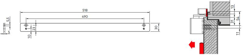 Монтажная пластина 30 мм для скользящего канала