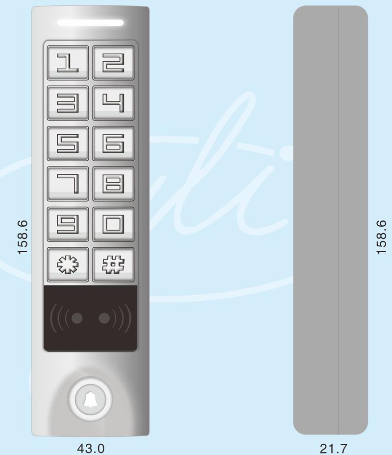 Габаритные размеры кодовой панели со встроенным контроллером и считывателем карт EM-Marine YK-1168A
