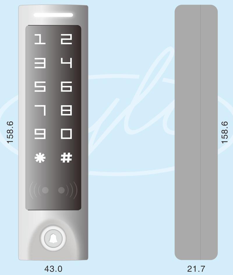 Габаритные размеры кодовой панели со встроенным контроллером и считывателем карт EM-Marine/HID YK-1068A