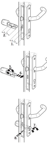 Установка цилиндра XS Cylinder Pro DZ со считывателем снаружи, поворотным кнобом изнутри