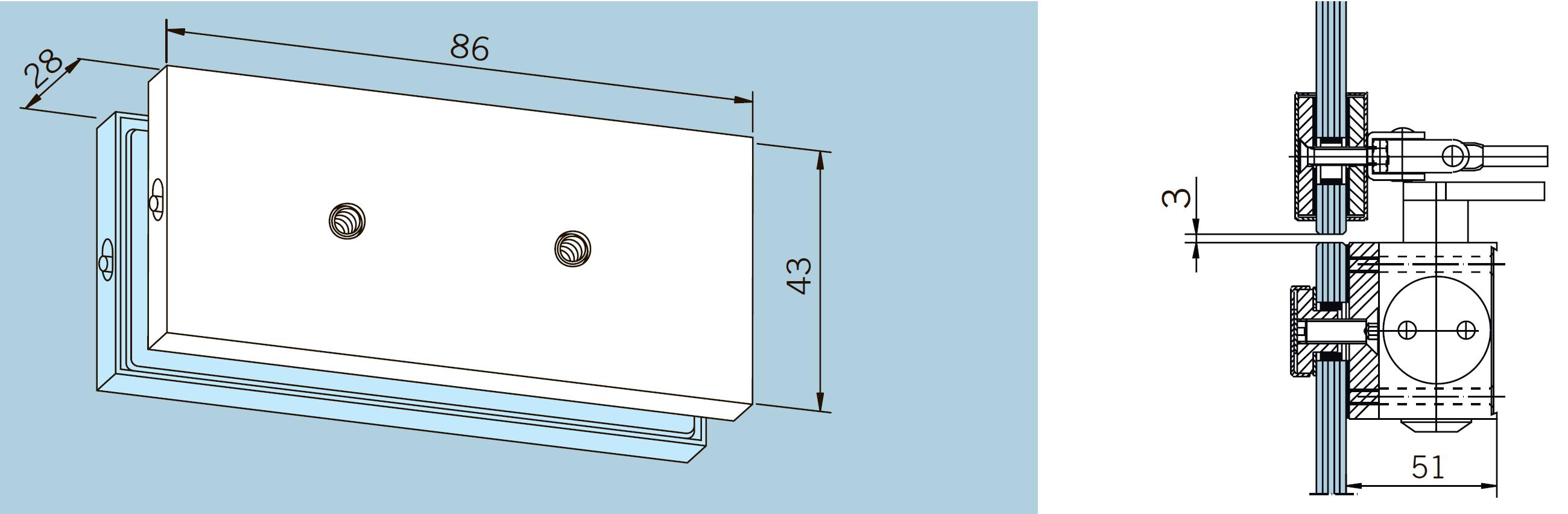Размеры и способ крепления монтажной пластины для рычага доводчика DORMA TS 73 V, установка на фрамугу
